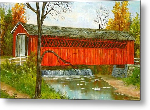 Painting Landscape Metal Print featuring the painting Henry Bridge Vt. by Marveta Foutch
