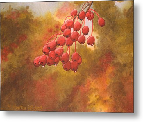 Rick Huotari Metal Print featuring the painting Door County Cherries by Rick Huotari
