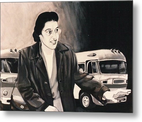 Rosa Parks;bus;civil Rights;civil Rights Era;bus Boycott;boycott;civil Rights History; Metal Print featuring the painting Rosa Parks by Howard Stroman