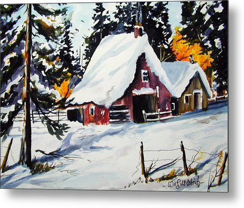 Quebec Sugar Shack At Grand Mere Metal Print featuring the painting Sugar Shack At Grande Mere by Wilfred McOstrich