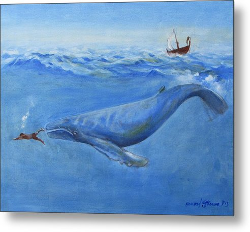 Bible;jonah And The Whale;whale;humpback Whale;mammals;sea Mammals;stormy Sea;fish;boat;waves;religion;old Testiment;spiritual;god And Religion;ad;seascape;water;sky;weather Metal Print featuring the painting Jonah by Howard Stroman