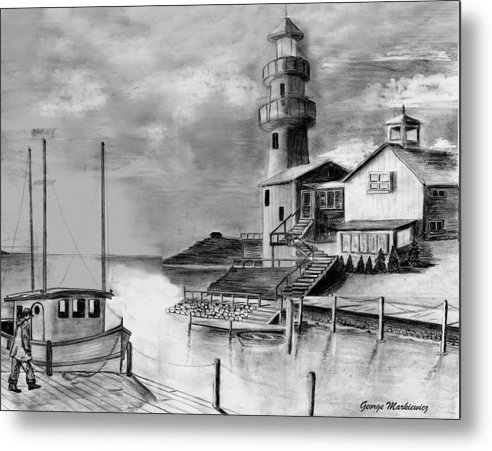 Sea Landscape Metal Print featuring the print Home before dark by George Markiewicz