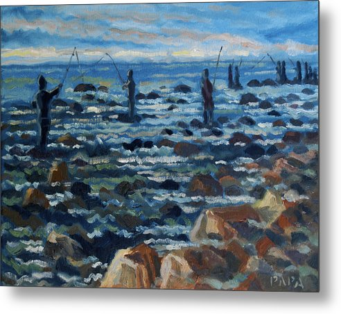 Surf Metal Print featuring the painting Surfcasters by Ralph Papa