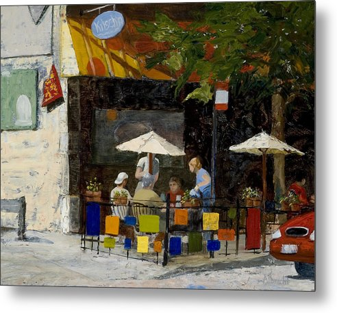 Chicago Metal Print featuring the painting Village Brunch by Nancy Albrecht
