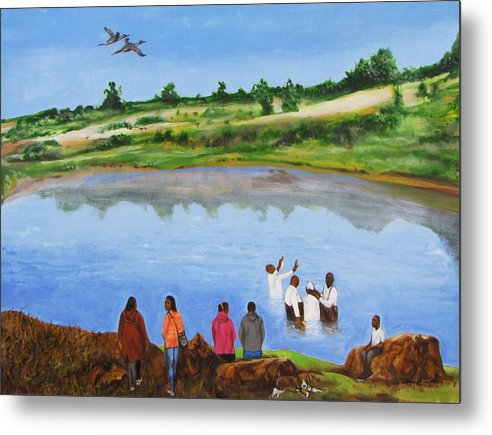 Baptism;church;religion;ceremony;river;water;birds;landscape;trees;rocks;people;bible;nature;outdoors;sky Metal Print featuring the painting Arrival At The Baptism by Howard Stroman