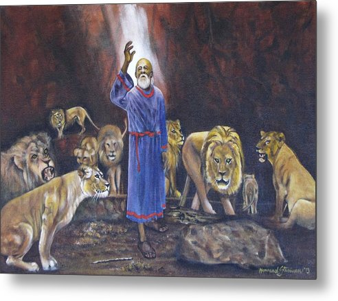 Daniel In The Lions Den; Lions; Animals; Rock; Bible; Biblical; Religion; Old Testiment; Metal Print featuring the painting Daniel by Howard Stroman