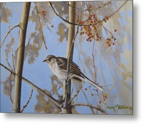 Bird;nature;outdoor;landscape;trees;sky; Metal Print featuring the painting Cold Day by Howard Stroman