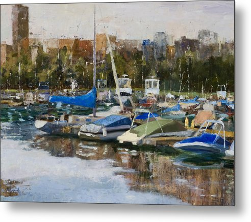 Cityscape Metal Print featuring the painting Boats in Montrose Harbor by Nancy Albrecht