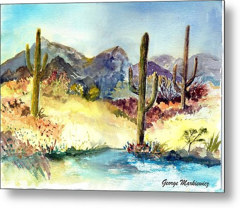 Desert Landscape Metal Print featuring the print Desert in the morning by George Markiewicz