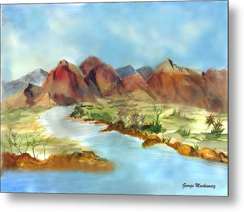 Desert Mountains And Water Metal Print featuring the print Mountain Range by George Markiewicz