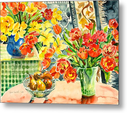 Watercolor Metal Print featuring the painting Studio Still Life by Ingrid Dohm