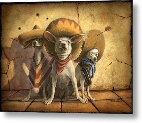 Dogs Metal Print featuring the painting The Three Banditos by Sean ODaniels