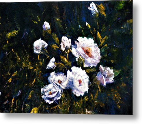 Flowers Metal Print featuring the painting White Roses by Jimmie Trotter