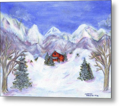 Winter Metal Print featuring the painting Winter Wonderland - www.jennifer-d-art.com by Jennifer Skalecke