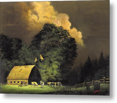 #home From The Hunt Metal Print featuring the painting Home From The Hunt by Harold Shull