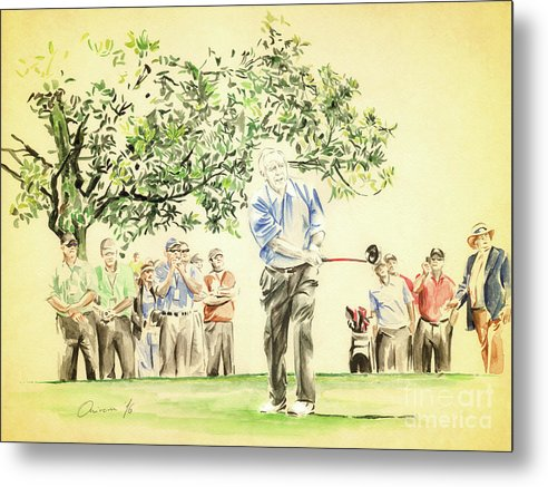 Arnold Palmer Metal Print featuring the painting The King under Magnolia by Olivera Cejovic