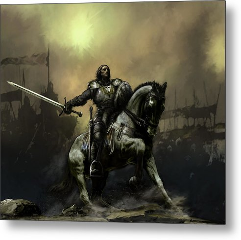 Fantasy Metal Print featuring the painting The Defiant by David Willicome