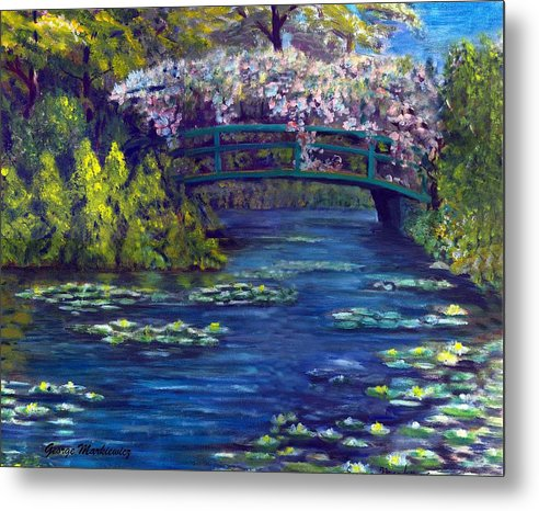 Bridge And Waterlillies Metal Print featuring the print Bridge and water lillies by George Markiewicz