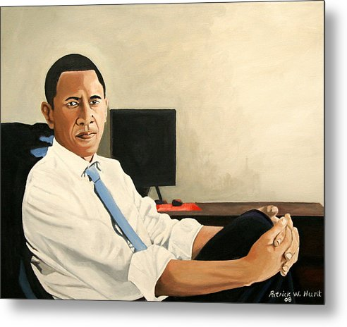 President Elect Obama Metal Print featuring the painting Looking Presidential by Patrick Hunt
