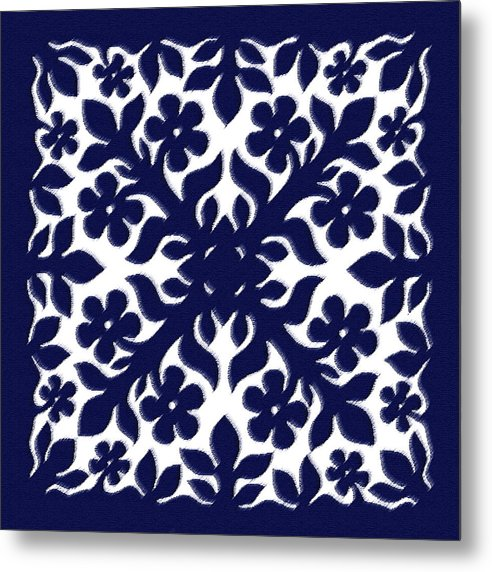 Hawaii Iphone Cases Metal Print featuring the digital art Blue Plumeria Quilt by James Temple