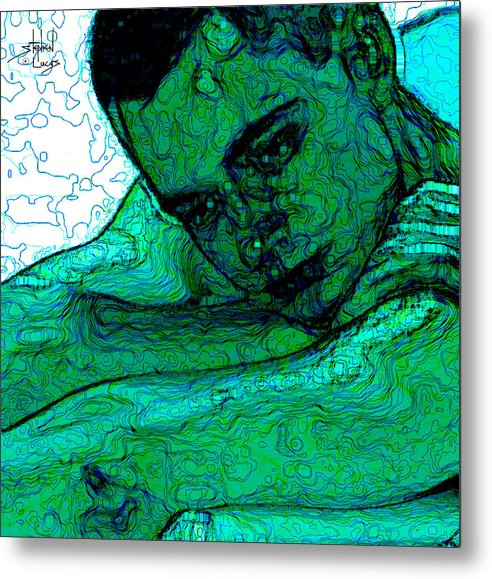 Abstract Metal Print featuring the digital art Turquoise Man by Stephen Lucas