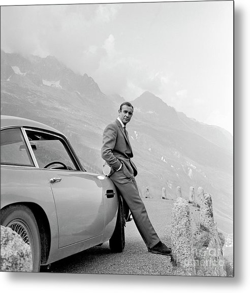 James Bond Coolly Leaning on His Aston Martin  by Doc Braham