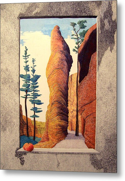 Landscape Metal Print featuring the painting Reared Window by A Robert Malcom