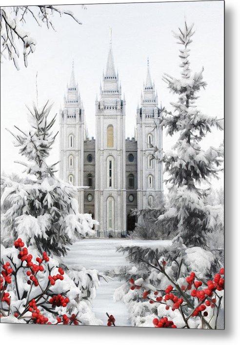 Salt Lake Metal Print featuring the painting Salt Lake Temple - Winter Wonderland by Brent Borup