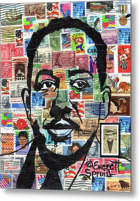 African Mask Metal Print featuring the mixed media James Mercer Langston Hughes by Everett Spruill