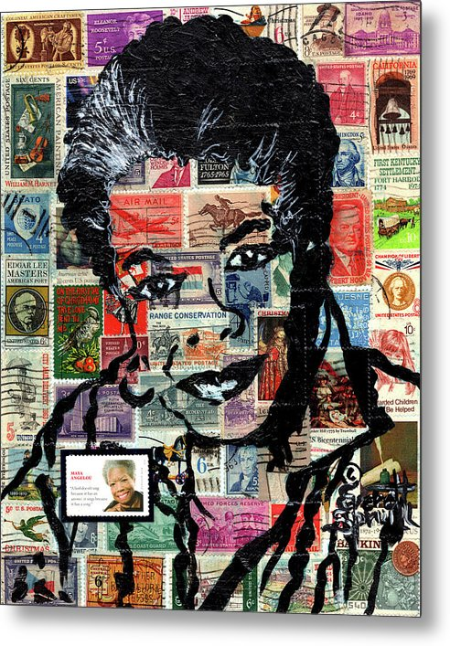 African Mask Metal Print featuring the mixed media Maya Angelou by Everett Spruill