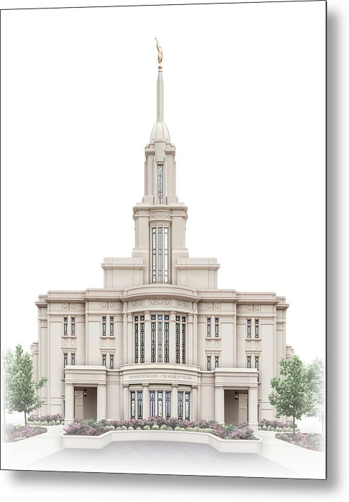 Payson Metal Print featuring the digital art Payson Temple - Celestial Series by Brent Borup