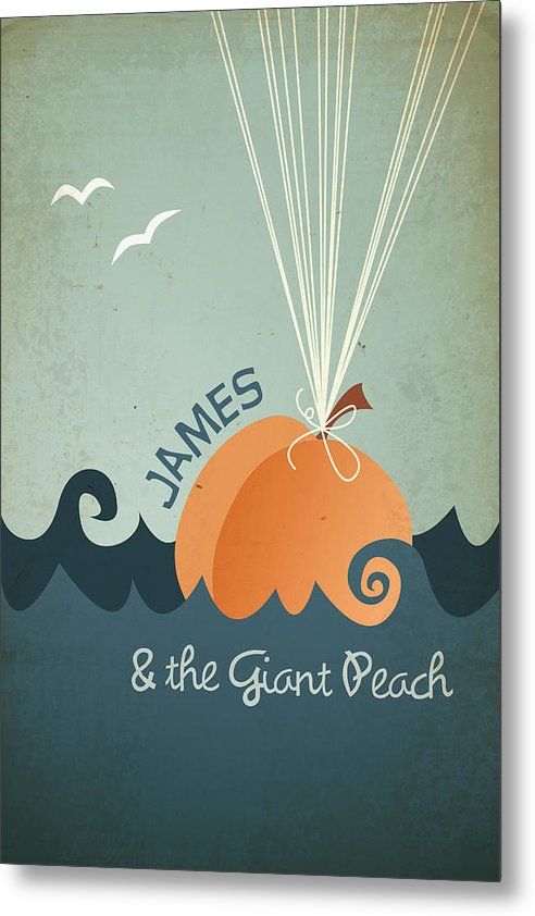James Metal Print featuring the digital art James and the Giant Peach by Megan Romo