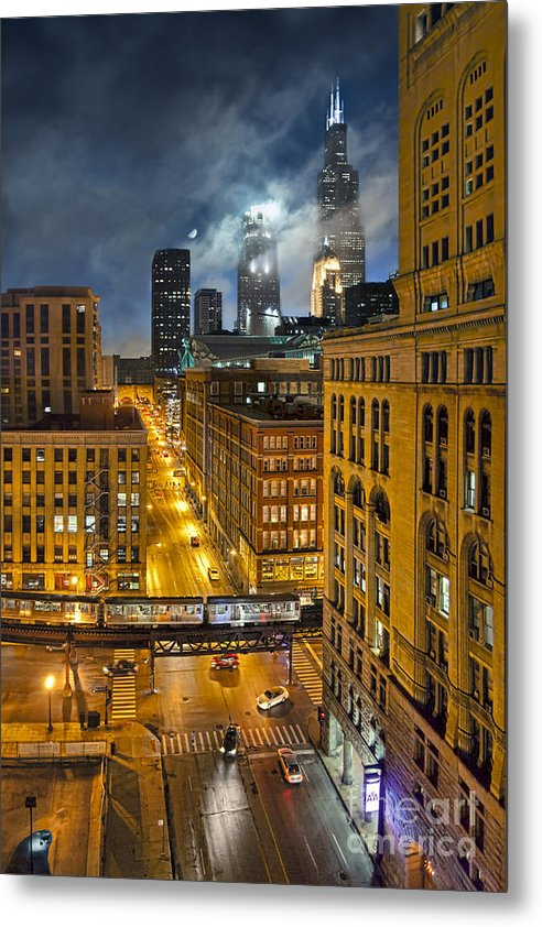 Chicago Metal Print featuring the photograph Moon Over Old Chicago by Chuck Brittenham