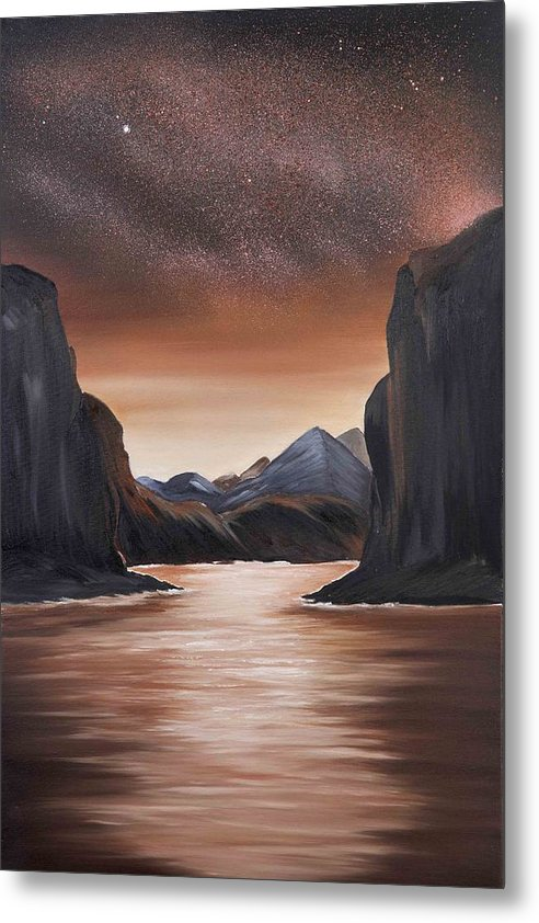 Landscape Metal Print featuring the painting The Passage beyond the boundaries by Ara Elena