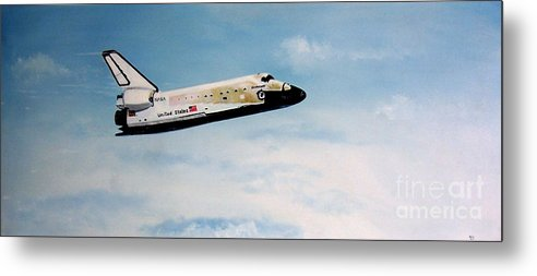 Shuttle Metal Print featuring the painting Challenger by Murphy Elliott