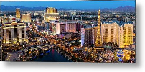 Las Vegas Replica Eiffel Tower Metal Print featuring the photograph Las Vegas Skyline At Dusk by Sylvain Sonnet