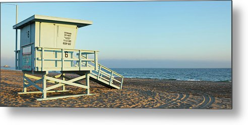 Water's Edge Metal Print featuring the photograph Santa Monica Lifeguard Station by S. Greg Panosian
