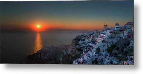 Tranquility Metal Print featuring the photograph Sunset In Santorini, Greece by Ed Freeman