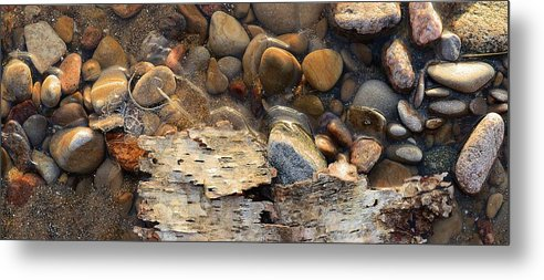 Abstract Metal Print featuring the digital art Birch Bark And Ice In The Creek Four by Lyle Crump