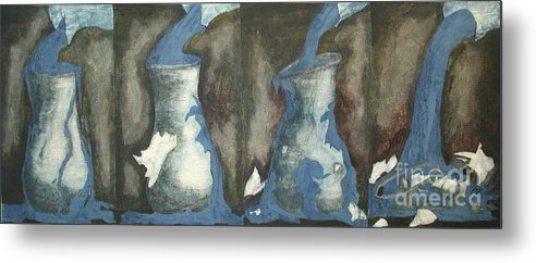 Water Metal Print featuring the painting Broke Down- This Vase Cannot Hold Any More by Sarah Goodbread
