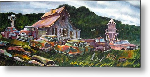 Cadillacs Metal Print featuring the painting Cadillac Ranch by Ron Morrison