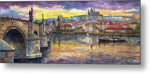 Oil On Canvas Metal Print featuring the painting Prague Charles Bridge and Prague Castle with the Vltava River 1 by Yuriy Shevchuk
