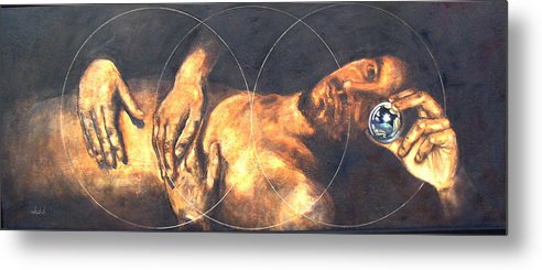 Sacred Geometry Metal Print featuring the painting The treshold by Ixchel Amor