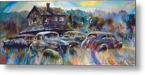 Old Rusty Dilapidated Cars House Metal Print featuring the painting The Wide Spread by Ron Morrison