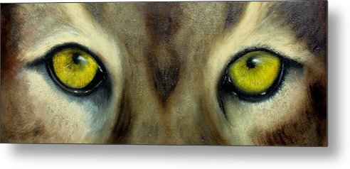 Eyes Metal Print featuring the painting Who's watching who...Florida Panther by Darlene Green