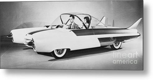 People Metal Print featuring the photograph Fords Future Experimental Car by Bettmann