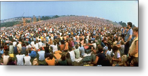 Timeincown Metal Print featuring the photograph Wide-angle Pic Of Seated Crowd Listening by John Dominis