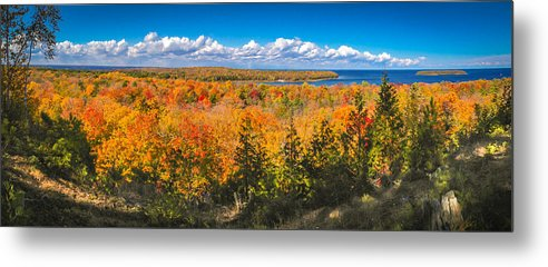 Door County Metal Print featuring the photograph Autumn Vistas of Nicolet Bay by Ever-Curious Photography