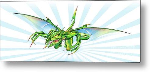 Dragon Metal Print featuring the digital art Dragon V2 by Brian Gibbs