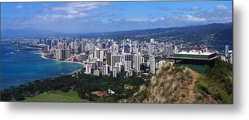 Landscape Metal Print featuring the photograph Downtown Honolulu by Michael Lewis